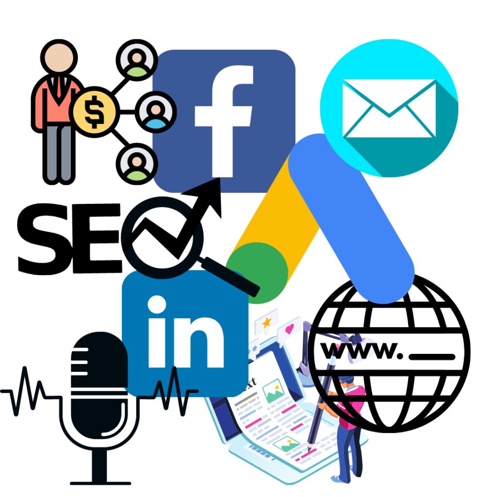 Hier zie je een foto van de verschillende soorten marketingkanalen om B2B te growth hacken, zoals Google, Facebook, email, LinkedIn,Affiliate, podcast en websites.